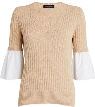Piazza Sempione Poplin-Sleeve Sequin Sweater