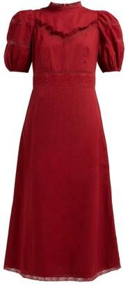 Sea Lace-trimmed Cotton-poplin Midi Dress - Dark Pink