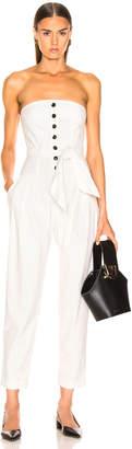 Marissa Webb Nikos Linen Jumpsuit in White Pinstripe | FWRD