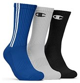 Champion Men's 3 Pack Dyed Crew Socks, Red/White/Black, 10-13/Shoe Size 6-12
