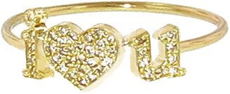 Jennifer Meyer Diamond I Heart You Stacking Ring - Yellow Gold