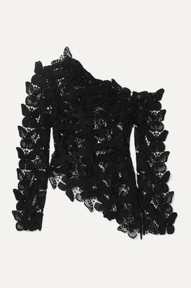 David Koma Asymmetric Embellished Cotton Macrame Top - Black