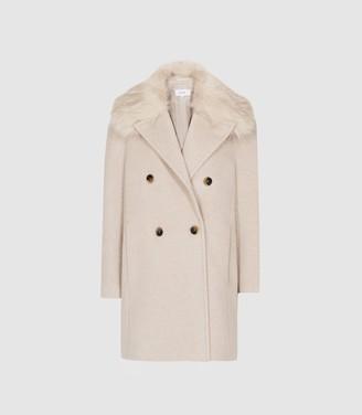 Reiss Lawson - Faux Fur Shawl Collar Coat in Oatmeal