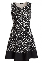 Quiz Cream And Black Flower Skater Dress