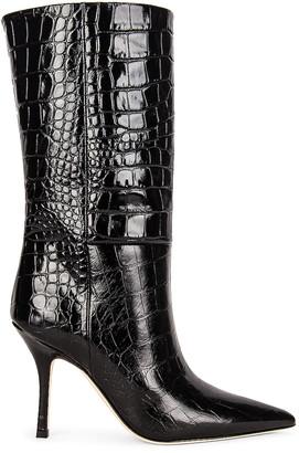 Paris Texas Embossed Croco Mama Mid Calf Boot in Carbone | FWRD