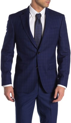 Ted Baker Jarrow Blue Plaid Two Button Notch Lapel Wool Sport Coat