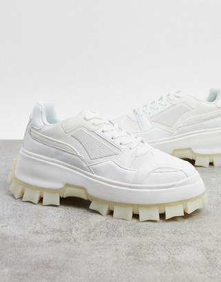 ASOS DESIGN trainers with multi rubber pannels and chunky cleated sole in white