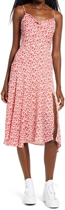 ALL IN FAVOR Floral Cowl Neck Asymmetrical Dress