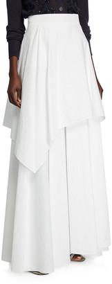 Brunello Cucinelli Crinkled Cotton Tiered Maxi Skirt