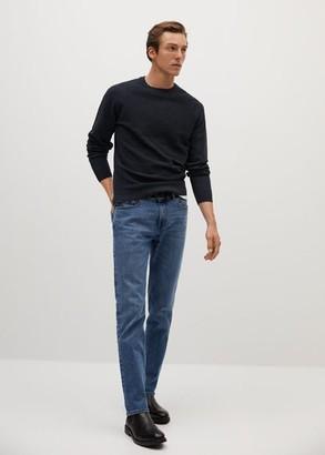 MANGO MAN - Striped structure sweater maroon - S - Men