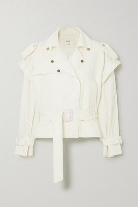 BITE Studios - Net Sustain Convertible Organic Cotton-blend Denim Biker Jacket - White