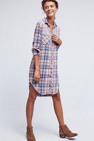 Cloth & Stone Fringed Plaid Buttondown Dress