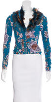 Blumarine Feathered Floral Print Cardigan