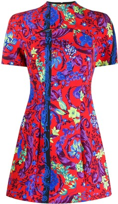 Versace Floral Print Fitted Mini Dress