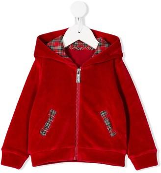 Lapin House tartan zipped hoodie