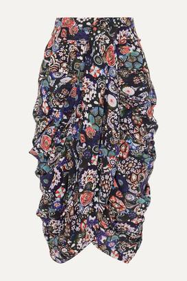 Isabel Marant Betina Ruched Floral-print Stretch-silk Crepe De Chine Skirt - Black