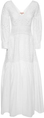Ermanno Scervino V Neck Cotton Eyelet Long Dress