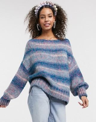 Asos Design DESIGN off shoulder sweater in space dye yarn