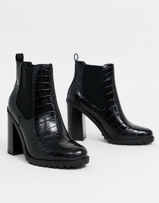New Look croc pu chunky ankle boot in black