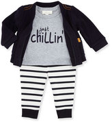 Miniclasix Knit Cardigan w/ Jersey Tee & Striped Leggings, Navy, Size 3-9 Months