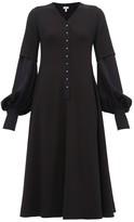 Loewe Layered-effect Wool-crepe Trapeze Dress - Womens - Navy