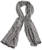 A & R Cashmere A&R Cashmere Lettuce Edged Cashmere-Blend Wrap - Gray - a&R Cashmere - heather gray