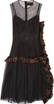 Simone Rocha Chenille-trimmed embellished tulle dress