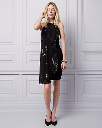 Le Château Floral & Bird Print Chiffon Cocktail Dress
