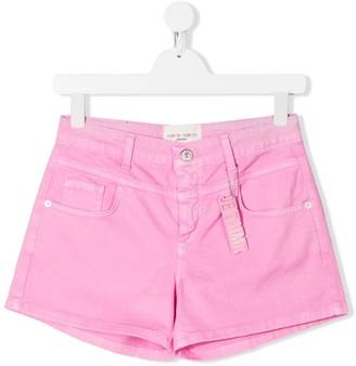 Alberta Ferretti Kids TEEN Je T'aime charm high-waisted shorts