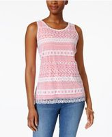 Charter Club Striped Lace Top, Only at Macy's