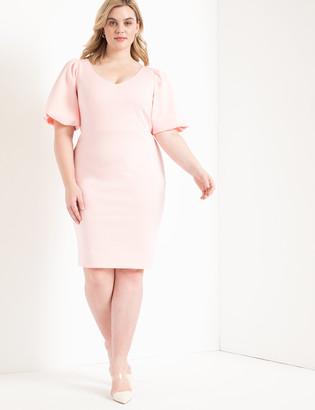 ELOQUII Puff Sleeve Scuba Dress