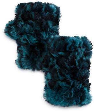Jocelyn Mandy Knit Rabbit-Fur Fingerless Mittens