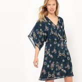 La Redoute Collections Short Floral Print Low Cut Dress