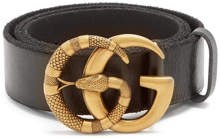 Gucci GG snake-buckle leather belt