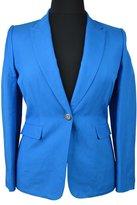 Tahari ASL Womens Jay Linen Peak Collar One-Button Blazer Blue