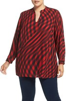 Vince Camuto Plus Size Women's 'Swept Check' Print Split Neck Blouse