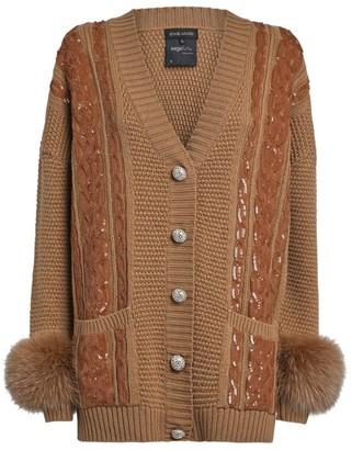 Izaak Azanei Embellished Fox Fur Cardigan