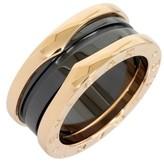 Bulgari B Zero One Black Ceramic 18K Rose Gold Three Band Ring Sz 4.5