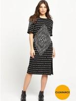 Replay Patterned Tee Dress - Black