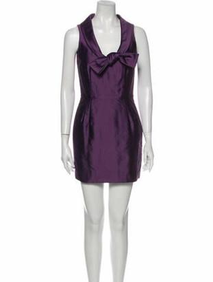 Valentino Plunge Neckline Mini Dress Purple
