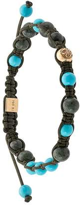 Shamballa Jewels 18kt yellow gold green marble and turquoise beaded bracelet