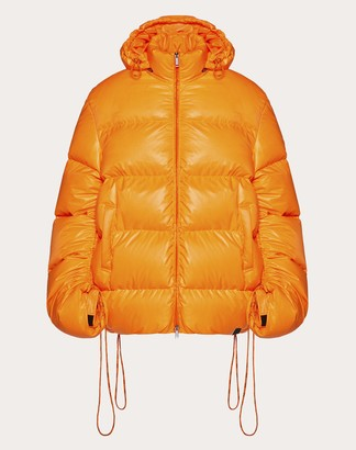 Valentino Duvet Couture Down Jacket With Drawstring Man Florescent Orange Polyester 100% S