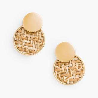 Talbots Basketweave Inset Earrings