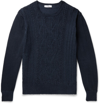 Inis Meáin Cable-Knit Linen And Cotton-Blend Sweater