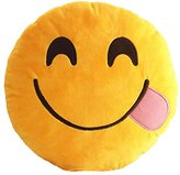 Want Funny Emoji Pillow Cushions Lovely Round Facial Expression Pillow Toys Yellow Plush Toys Kids Gift Sofa Decoration Pillows (Yummy)