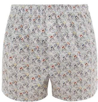 Sunspel Liberty Cyclist Print Cotton Boxer Shorts - Mens - White Multi