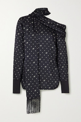 Monse One-shoulder Fringed Polka-dot Satin-twill Blouse - Midnight blue