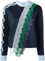 Versace diagonal lace panel knitted top - women - Polyester/Spandex/Elastane/Polyethylene/Viscose - 38