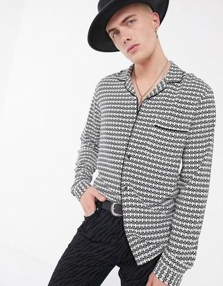 ASOS DESIGN regular fit pyjama shirt in geo print