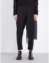 Isabel Benenato Draped-panel mid-rise stretch-crepe trousers